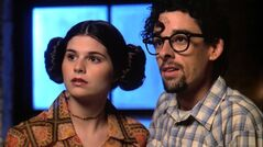 George Lucas, played by Martin Hynes and Marion, who is a Princess Leia-inspired character, played by Lisa Jakub are shown in a scene from ,