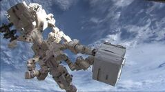 Dextre, the Canadian Space Agency's robotic handyman, ferries cargo from the Kounotori2 cargo ship to the International Space Station in February 2011. The Bank of Canada is set to unveil its latest plastic bank notes this week — but documents show some people found one of the new bills too cartoonish and the other too old-fashioned. Focus groups consulted about the proposed images for the new bank note series thought the space motif inclduding a depticion of Dextre of the new five-dollar bill looked childish.
