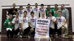 The Miles Macdonell Buckeyes junior varsity boys celebrate their provincial championship after a two-set win over Steinbach.