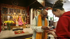 Atish Maniar blesses St. Mary's Academy students at Ellice Avenue Hindu temple.