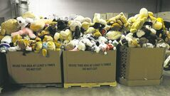 Thousands of stuffed animals and other toys are piling up at a warehouse in Newtown, Conn.