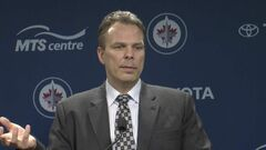 Winnpeg Jets general manager Kevin Cheveldayoff talks to media in Winnipeg on Wednesday.