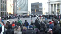 Idle No More protesters blocked traffic and took over Portage and Main around 3 p.m. Monday.