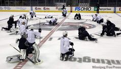 The Winnipeg Jets practice at Nationwide Arena in Columbus, Ohio, today.