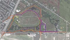 Map of relocated off-leash dog park and trails and roadway.