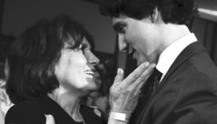Justin Trudeau and his mother Margaret after he won the Liberal leadership on Sunday.
