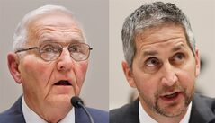 "FILE - This Sept. 22, 2010 combination of file photos shows Quality Egg LLC owner Austin ""Jack"" DeCoster, left, and its chief operating officer, Peter DeCoster on Capitol Hill in Washington. According to a plea agreement released Monday, June 2, 2014 both DeDosters are expected to plead guilty to introducing adulterated food into interstate commerce. The deal calls for the company to pay $6.8 million and each of the DeCosters to pay $100,000 in fines for selling old eggs with false labels and the tainted products that caused a nationwide salmonella outbreak in 2010. (AP Photo/Manuel Balce Ceneta, file)"