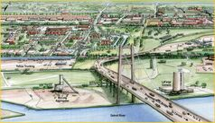 Artist's rendering of proposed new bridge between Windsor and Detroit.