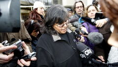 Hilda McKay, sister of Karl McKay, comments outside the courthouse Friday after the verdicts were handed down.