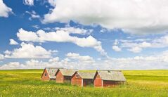 FILE - In this undated file photo, brightly colored storage sheds sit on a farm near Kindersley, Saskatchewan. Saskatchewan is probably best known for producing singer Joni Mitchell, hockey great Gordie Howe, and the late Tommy Douglas, the first socialist premier. These days, however, Saskatchewan is in the news for a more prosaic reason: potash, the mineral that lies under its prairies and fertilizes farms the world over. Premier Brad Wall believes it was a thwarted foreign takeover of Saskatchewan's biggest potash mines that awakened Canadians to the wealth in their midst. (AP Photo/The Canadian Press, Bayne Stanley, File)