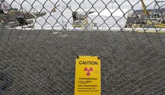 A warning sign is shown attached to a fence at the 'C' Tank Farm at the Hanford Nuclear Reservation, near Richland, Wash. on March 6, 2013. THE CANADIAN PRESS/AP, Ted S. Warren