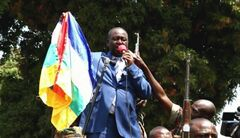 In this frame grab taken from APTN footage from Thursday, Dec. 27, 2012, President Francois Bozize addresses crowds, in Bangui, Central African Republic. The president of Central African Republic on Thursday urgently called on France and other foreign powers to help his government fend off rebels who are quickly seizing territory and approaching the capital Bangui. French officials, however, declined to offer any military assistance in response to the plea from Francois Bozize. (AP Photo/APTN)