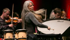 Scottish virtuoso percussionist Dame Evelyn Glennie rehearses with the Winnipeg Symphony Orchestra.