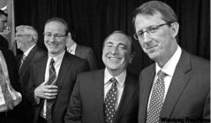 True North president Jim Ludlow (left) and chairman Mark Chipman (right), with NHL commissioner Gary Bettman, picked the perfect size for the MTS Centre.