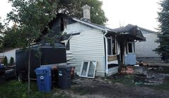 An overnight fire destroyed a house in the 100 block of Sadler Avenue in S. Vital. Apparently the fire started at the rear of the house, gutting the  entire main floor of the bungalow.