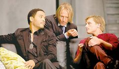 Woody Harrelson's character in The Hunger Games, Haymitch Abernathy (centre), becomes Buttitch Totalapathy in The Hunger Pains.