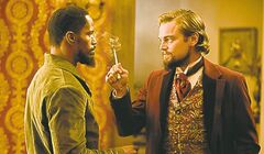 Jamie Foxx, left, as Django and Leonardo DiCaprio as Calvin Candie.