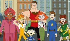 After eight years of deveolpment, Seth Meyers has finally finished 10 episodes of The Awesomes, above. From left: Impresario, voiced by Kenan Thompson, Frantic, voiced by Taran Killam, Tim, a.k.a. Sumo, voiced by Bobby Lee, foreground, Muscleman, voiced by Ike Barinholtz, Concierge, voiced by Emily Spivey, Prock, voiced by Seth Meyers and Gadget Gal, voiced by Paula Pell.