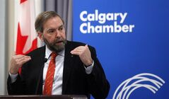 NDP Leader Tom Mulcair speaks to the chamber of commerce in Calgary, Alta., Tuesday, Feb. 19, 2013.THE CANADIAN PRESS/Jeff McIntosh
