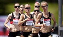 Nicole Sifuentes (left), of Winnipeg, runs the women's 1,500-metre event at the Canadian Track and Field Championships in Calgary, Alta., on Friday. She finished third and will represent Canada at the London 2012 Olympics.