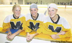 Twins Dana (left) and Shannon Hoogsteen are enjoying the opportunity to play on the same team as their older sister, Lindsey (centre), as members of the Manitoba Rage team that is participating in the Canadian Ball Hockey Championships in Winnipeg.