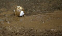 A the golf ball of Graham Delaet, of Canada, sits in the mud on the fourth hole during the third round of the PGA Championship golf tournament at Valhalla Golf Club on Saturday, Aug. 9, 2014, in Louisville, Ky. (AP Photo/David J. Phillip)