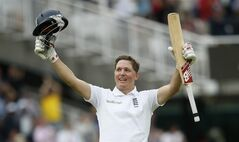 England's Gary Ballance celebrates his maiden test 100 runs not out off the bowling of Sri Lanka's Rangana Herath on the fourth day of the first Test cricket match between England and Sri Lanka at Lord's cricket ground in London, Sunday June 15, 2014. (AP Photo/Alastair Grant)