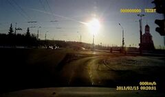 In this frame grab made from a video done with a dashboard camera a meteor streaks through the sky over Chelyabinsk, on Friday, Feb. 15, 2013. THE CANADIAN PRESS/AP Video