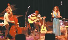 Luke Sellick, from left, Larry Roy and Erin Propp perform during the TD Winnipeg International Jazz Festival on June 20.