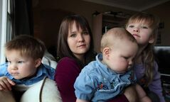 Chantel Miyai with (from left) Kaiden, 2, Caleb, 7 months, and Emma, 5. She says child support belongs to the children.