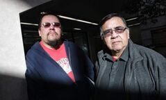 Buffalo Point First Nation band members, Elliott Cobiness (left) and Robert Kakaygeesick Jr. (right) are among those who oppose chief John Thunder.