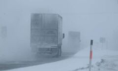 Blowing snow is creating low visibility for drivers heading down Highway No. 1 westbound near Whitehorse Saturday morning.