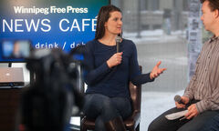 Jennifer Botterill, Olympic Gold medal with Women's Team Canada hockey player team, in the Free Press News Café.