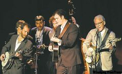 Steve Martin, right, performs with the Steep Canyon Rangers in Los Angeles.