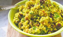 Curried quinoa salad with yam, almonds and dried  cranberries