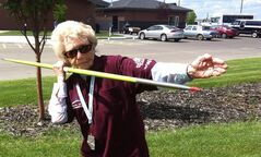 Florence Storch is shown in this 2013 photo holding a javelin. The 101-year-old from Hanna, Alta. has been competing for about a decade in javelin at both the seniors' provincial and national levels. THE CANADIAN PRESS/HO-Mary Nanninga