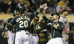 Oakland Athletics' Brandon Moss, front right, is congratulated by teammate Josh Donaldson (20) hitting a two-run home run off Washington Nationals' Doug Fister in the fifth inning of a baseball game on Friday, May 9, 2014, in Oakland, Calif. (AP Photo/Ben Margot)