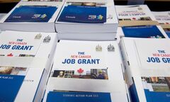 Copies of the Federal Budget are pilled on a desk on Parliament Hill in Ottawa on Thursday March 21, 2013. THE CANADIAN PRESS/Adrian Wyld