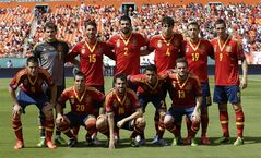 Starting players from the Spanish national soccer team pose before an exhibition soccer match against Haiti, on, June 8, 2013 in Miami. THE CANADIAN PRESS/AP, Lynne Sladky