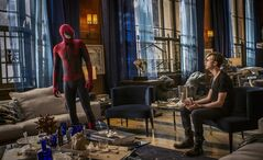 This image released by Sony Pictures shows Andrew Garfield, left, and Dane DeHaan in the film,