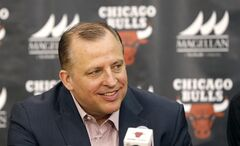 Chicago Bulls basketball head coach Tom Thibodeau smiles as the Bulls' introduce their first and second round draft picks during a news conference Monday, June 30, 2014, in Deerfield, Ill. (AP Photo/Charles Rex Arbogast)