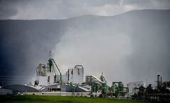 An explosion and fire hit the Plum Creek Timber Co. Medium-Density Fiberboard plant in Columbia Falls, Montana on Tuesday, June 10, 2014. (AP Photo/Daily Inter Lake, Brenda Ahearn)