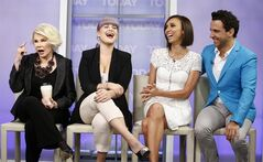 This Sept. 5, 2013 photo shows co-hosts, from left, Joan Rivers, Kelly Osbourne, Giuliana Rancic and George Kotsiopoulos from the E! series