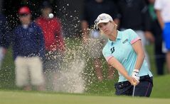Karrie Webb hits from the sand on the 10th hole during the LPGA Championship at the Monroe Golf Club, Thursday, Aug. 14, 2014 in Pittsford, N.Y. (AP Photo/The Buffalo News, Harry Scull Jr) TV OUT; MAGS OUT; MANDATORY CREDIT; BATAVIA DAILY NEWS OUT; DUNKIRK OBSERVER OUT; JAMESTOWN POST-JOURNAL OUT; LOCKPORT UNION-SUN JOURNAL OUT; NIAGARA GAZETTE OUT; OLEAN TIMES-HERALD OUT; SALAMANCA PRESS OUT; TONAWANDA NEWS OUT