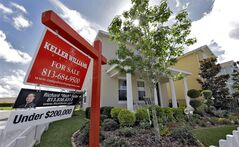 FILE - This May 14, 2014 file photo shows a new home for sale in the Winthrop subdivision in Riverview, Fla. The Commerce Department on new home sales in July on Monday, Aug. 25, 2014. (AP Photo/Chris O'Meara, File)