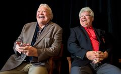 Retired NHL hockey players Bobby Hull, left, and Marcel Dionne laugh during a news conference for Gordie Howe's 85th birthday celebration in Vancouver, B.C., on Thursday, February 28, 2013. Howe, who turns 85 on March 31, will be joined by NHL greats Hull, Dionne, Johnny Bower, Dennis Hull and Orland Kurtenbach for a pregame birthday ceremony before the Vancouver Giants and Lethbridge Hurricanes WHL hockey game Friday night. Gordie Howe is part owner of the Giants. THE CANADIAN PRESS/Darryl Dyck
