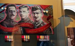 The Victoria Cross Medals of Valour Road recipients Corporal Lionel Clarke, Sergeant Major Frederick Hall and Lieutenant Robert Shankland are displayed after the unveiling of the medals at the National War Museum in Ottawa.