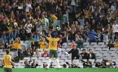 Australia's Tim Cahill stands on a fence and celebrates scoring a goal against South Africa during their friendly soccer match in Sydney, Monday, May 26, 2014. (AP Photo/Rick Rycroft)