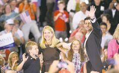 Republican vice presidential candidate Paul Ryan (R-Wis.) and his family campaign with Republican presidential candidate Mitt Romney Saturday in Ashland, Va. Romney chose the House of Representatives budget committee chairman as his running mate.