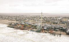 The Seaside Heights amusement park on the New Jersey shore after being pounded by 'freak storm' Sandy earlier this week.
